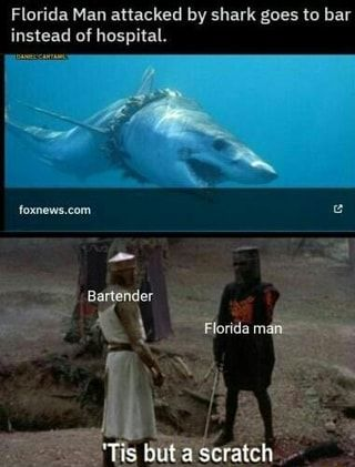 Florida Man attacked by shark goes to bar instead of hospital. - )