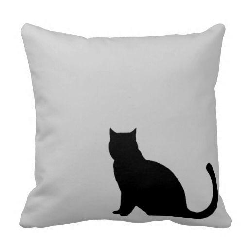 black cat silhouette pillow