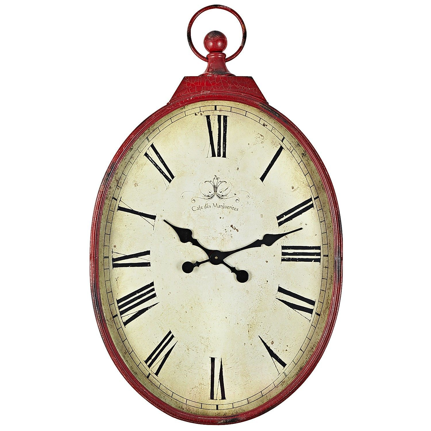 Red Antiqued Wall Clock Oversized Pocket Watch Design 103 20