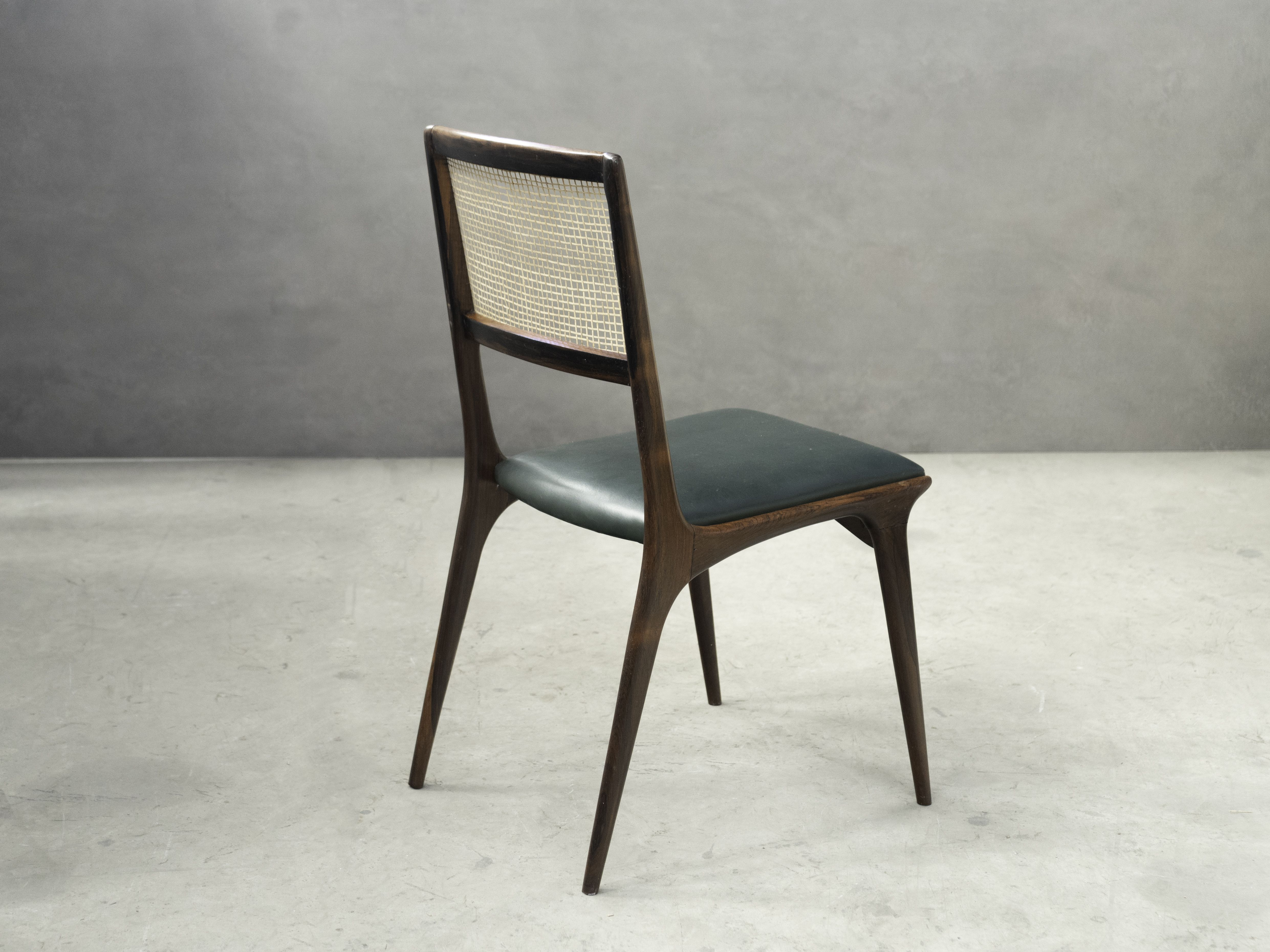 Carlo Hauner And Martin Eisler Green Leather Chair Dining