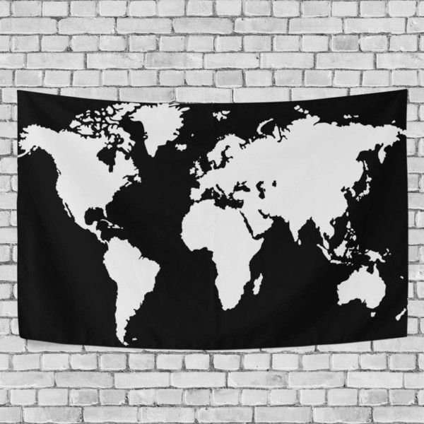 Black and white world map tapestry blacklight abstract wall hanging black and white world map tapestry blacklight abstract wall hanging 35 liked on polyvore featuring home home decor wall art black and white home gumiabroncs