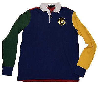 Polo Ralph Lauren Men Custom Rugby Sweatshirt Shirt Navy Red Green Yellow  Medium