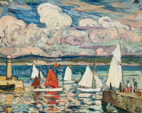 """Sailboats, St. Ives,"" Richard Hayley Lever, oil on board, 12 3/4 x 16"", private collection."