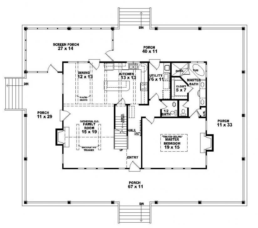 654063 one and a half story 3 bedroom 2 5 bath country for Half bath floor plans