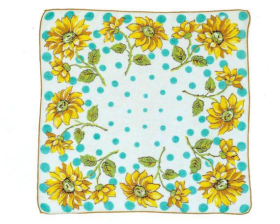 RETRO HANKIE, Mid-Century, Geometric, 8 Sun Flowers on White Field, Large Aqua Dots, Hand Rolled Hem, Graphic, Excellent Condition. $15.00, via Etsy.