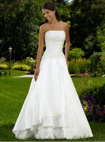 Taffeta Strapless A Line Skirt Hot Sell Wedding Dress WD 0084 Our Price NZD