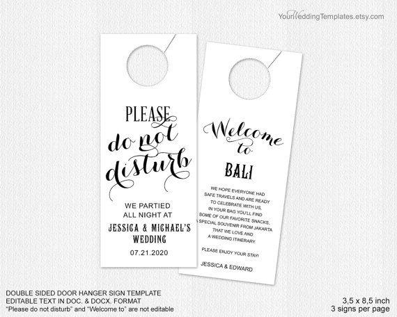 Welcome your guest with this elegant do not disturb door hanger sign
