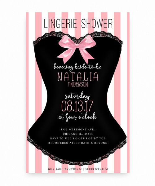 corset lingerie shower corset pink and white bridal shower invitation