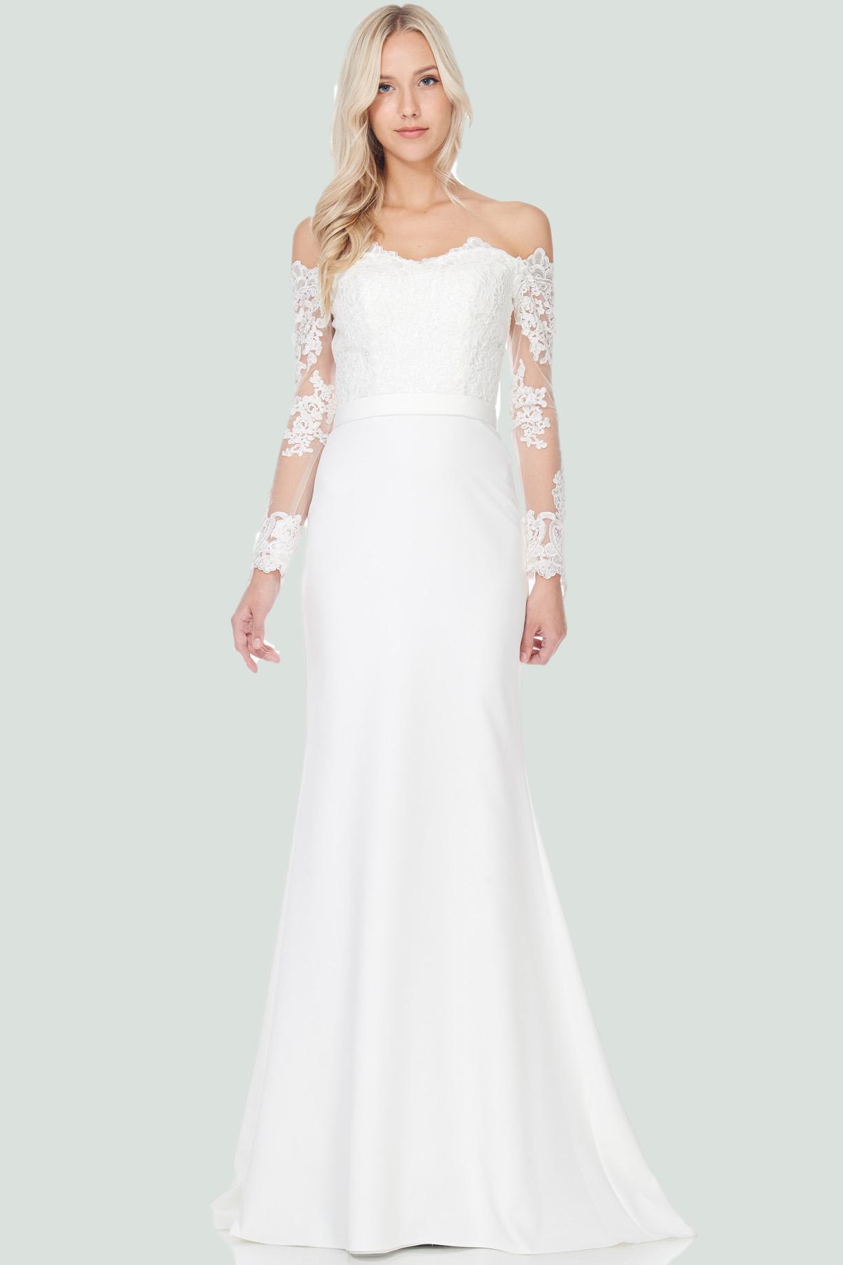 Elegant simple long sleeve lace wedding dress lace wedding dresses