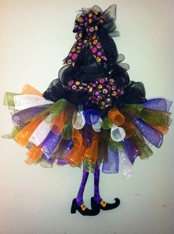SALE Whimsical, Halloween Witch TuTu Wreath with Witches Legs and - halloween decorations for sale