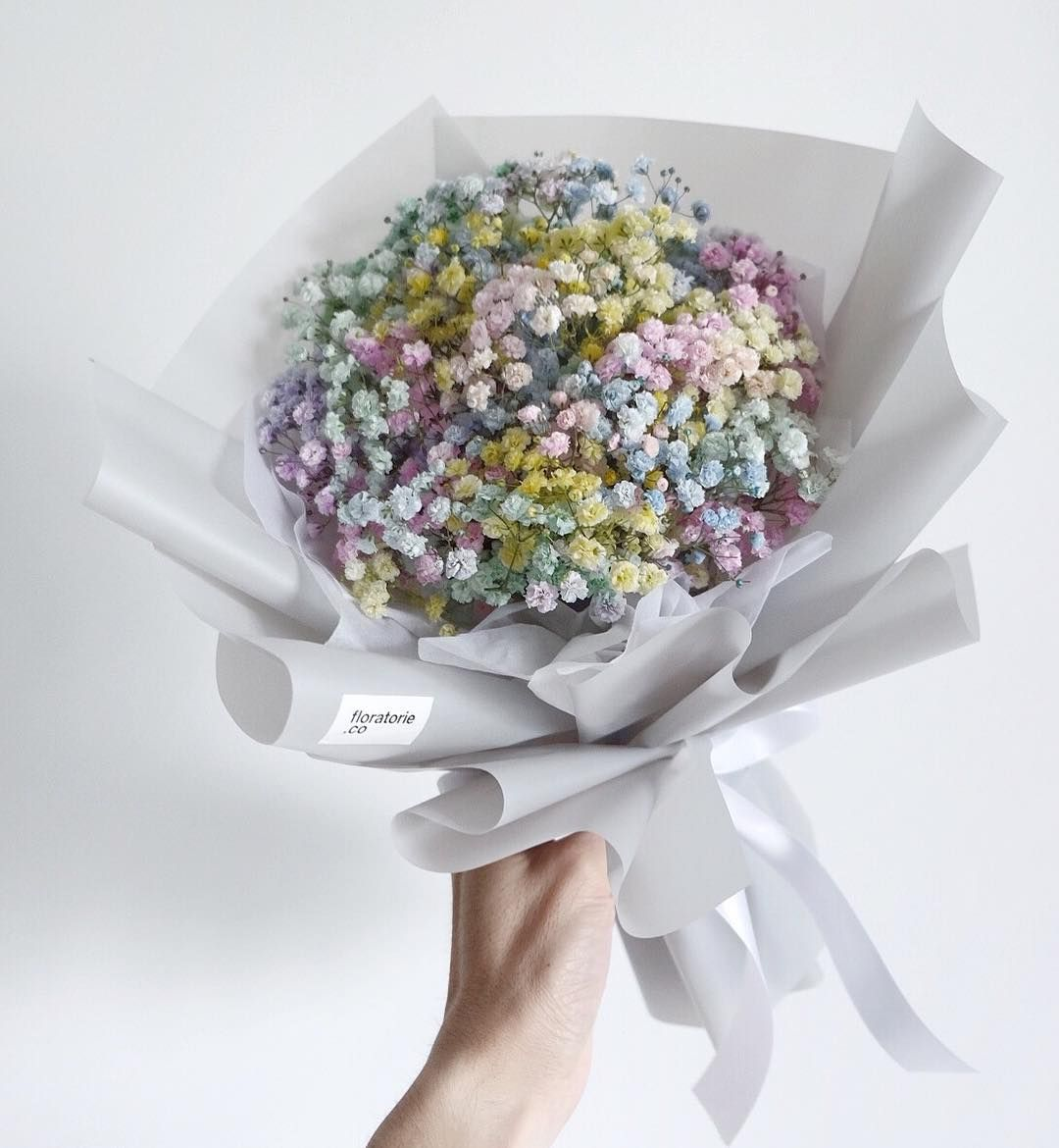 Pale Rainbow Color Baby S Breath Birthday One Flower Bouquet Birthday Flowers Arrangements Babys Breath Babys Breath Bouquet