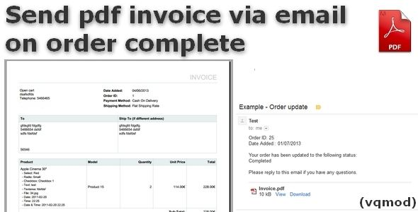 Send pdf invoice via email on order Complete (OpenCart) Premium - sending invoices by email