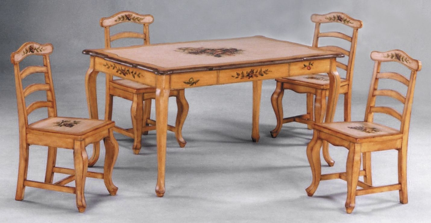 painted pedestal dining table and chairs | hand painted ...