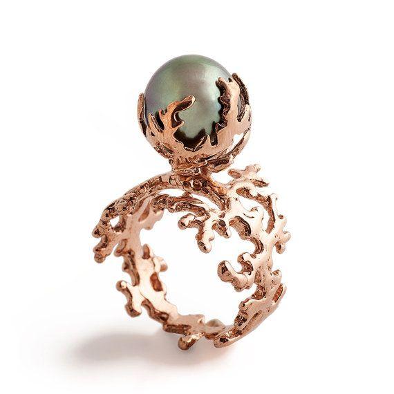 ROSE CORAL Tahitian Pearl Ring Black Pearl Engagement Ring Rose Gold Pearl