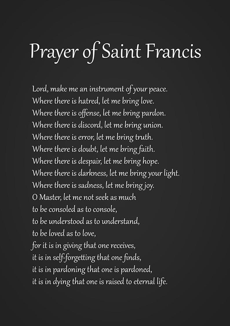 St Francis Of Assisi St Francis Of Assisi Prayer St Francis Assisi Print St Francis Assi Francis Of Assisi Quotes Francis Of Assisi Prayer Saint Francis Prayer