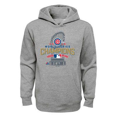 Youth Chicago Cubs Majestic Heathered Gray 2016 World Series Champions Locker Room Pullover Hoodie Chicago Cubs World Series Cubs World Series Mlb Chicago Cubs