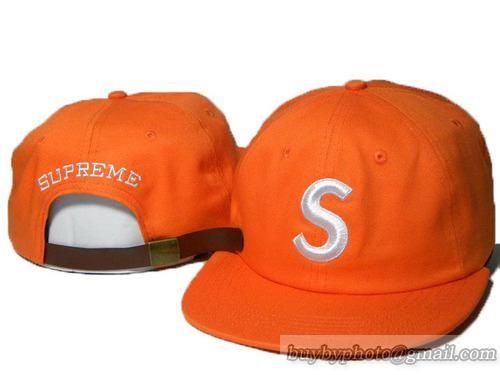 Supreme Strapback Hats Caps S Logo Adjustable Hats Orange  0e63b7809a6
