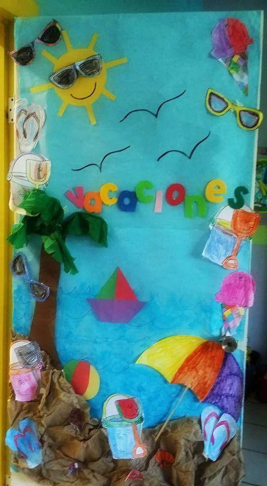 Puerta escolar de vacaciones trabajitos n i decoraci n for Decoracion puerta aula infantil