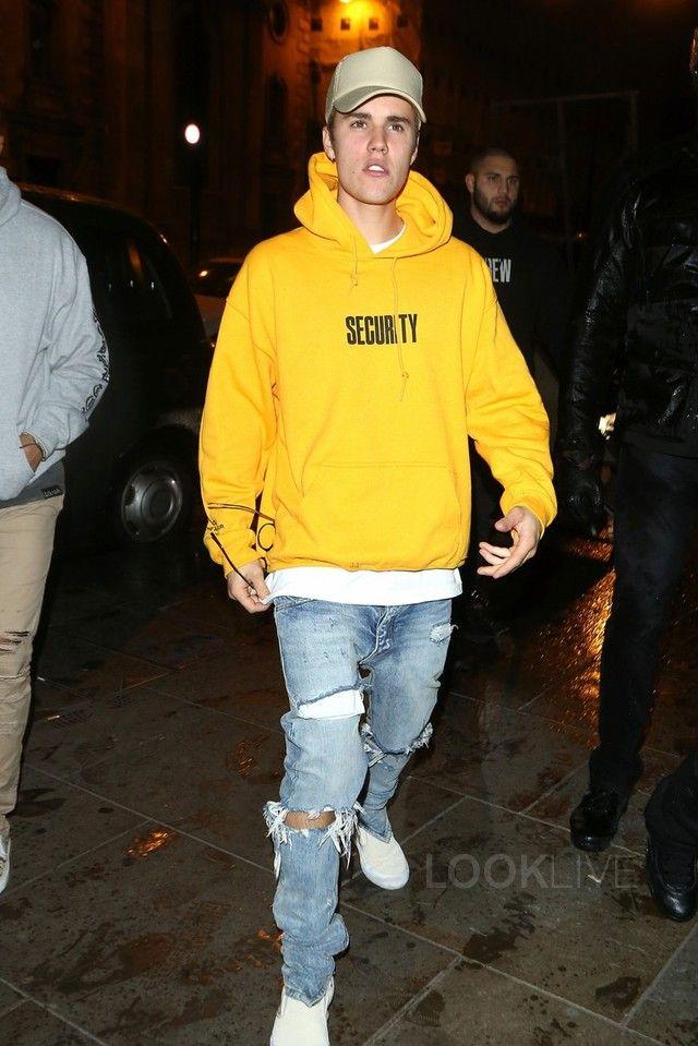 8f1b9bc8f21 Justin Bieber wearing Fan Merchandise Justin Bieber Purpose Security Tour  Hoodie
