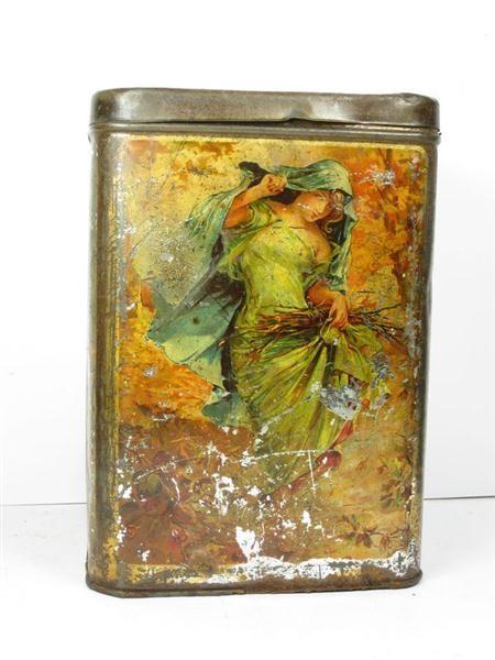 Vintage four-seasons art nouveau tin