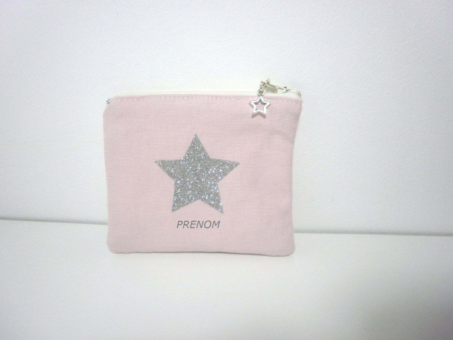 Small Wallet First Child Girl Light Pink Sequin Embroidery Fabric - Petit porte monnaie femme