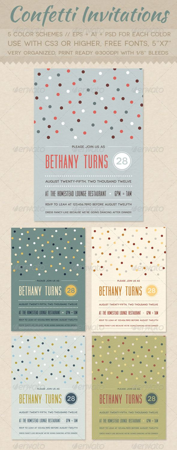 Confetti Invitations  Card Templates Postcard Design And Print