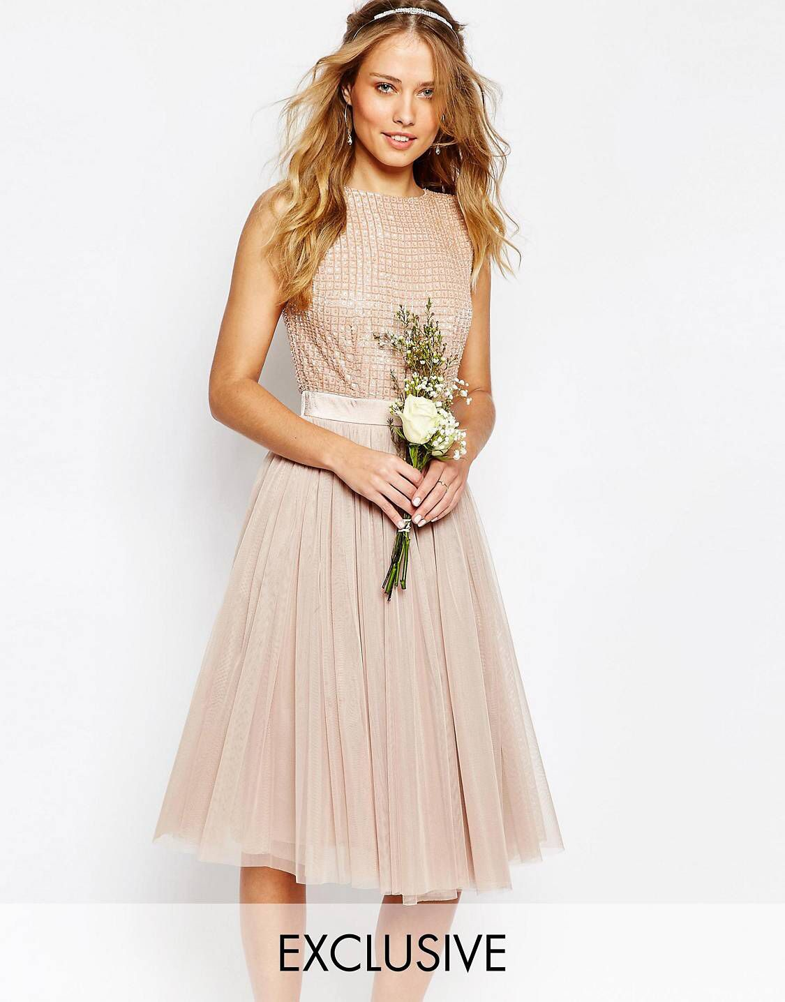 Maya Embellished Top Midi Dress with Tulle Skirt | Maya und Shops