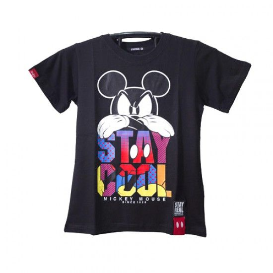 """stay real """"stay cool mickey mouse"""" tshirt black"""
