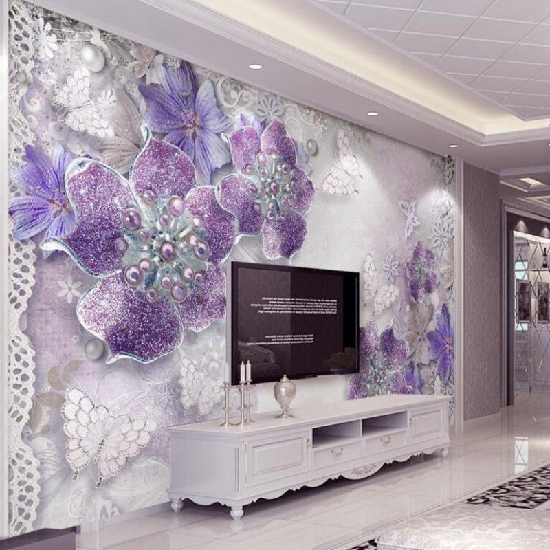 Large 3d European Pearl And Rose Jewelry Tv Background: Custom Wallpaper 3 D TV Sitting Room Mural Wallpaper