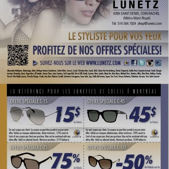 Print this & come shop! Best Sunglass Store in Montreal