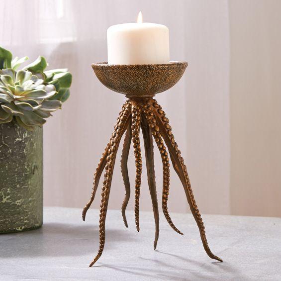 Shagreen Pillar Candleholder On Bronze Octopus Base   Bronze/Hand Painted  Porcelain