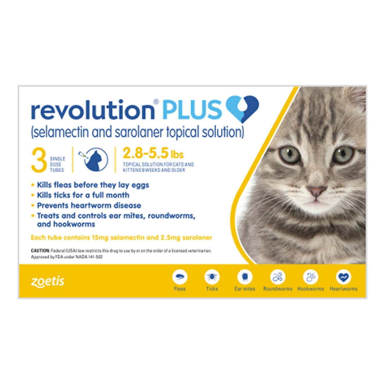 Revolution Plus Topical Solution 2 8 5 5lbs Cat Pack Of 3 American Dog Revolution Cats