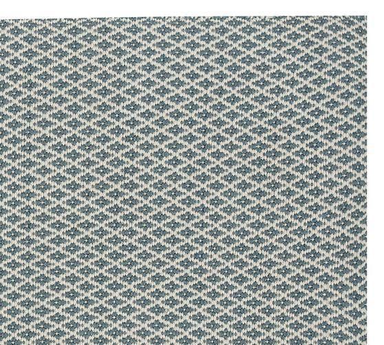 Basic Diamond Recycled Yarn Indoor Outdoor Rug Blue