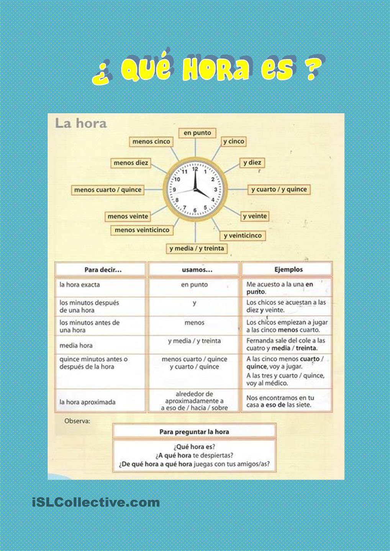 Â¿Qué hora es? 2 | Matemáticas | Pinterest | Español, Las horas y ...