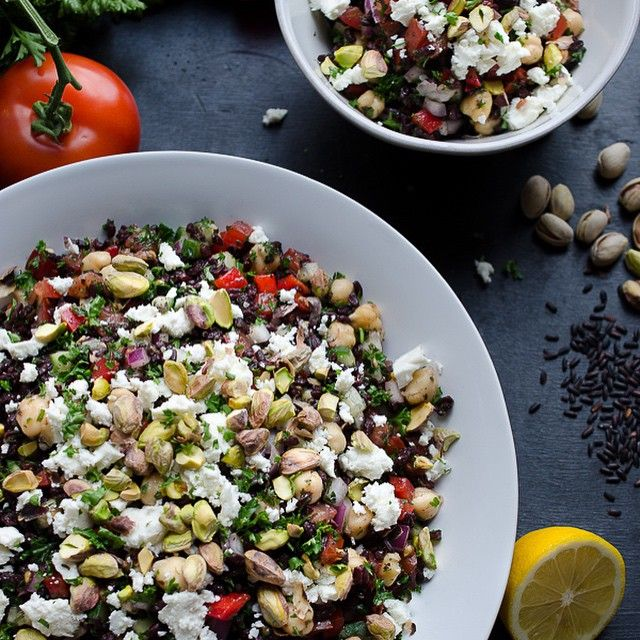 Black Rice Tabbouleh with Chickpeas Feta and Pistachios...new #ontheblog now! I could eat this every day!