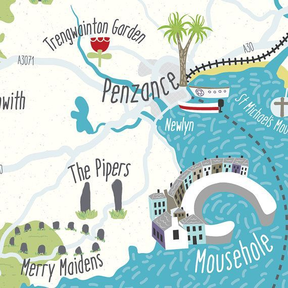 Illustrated Map of Cornwall Penzance by BekCruddaceDesign