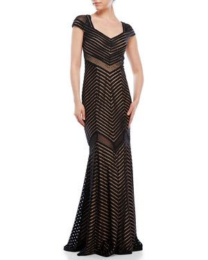 Black Cap Sleeve Chevron Gown