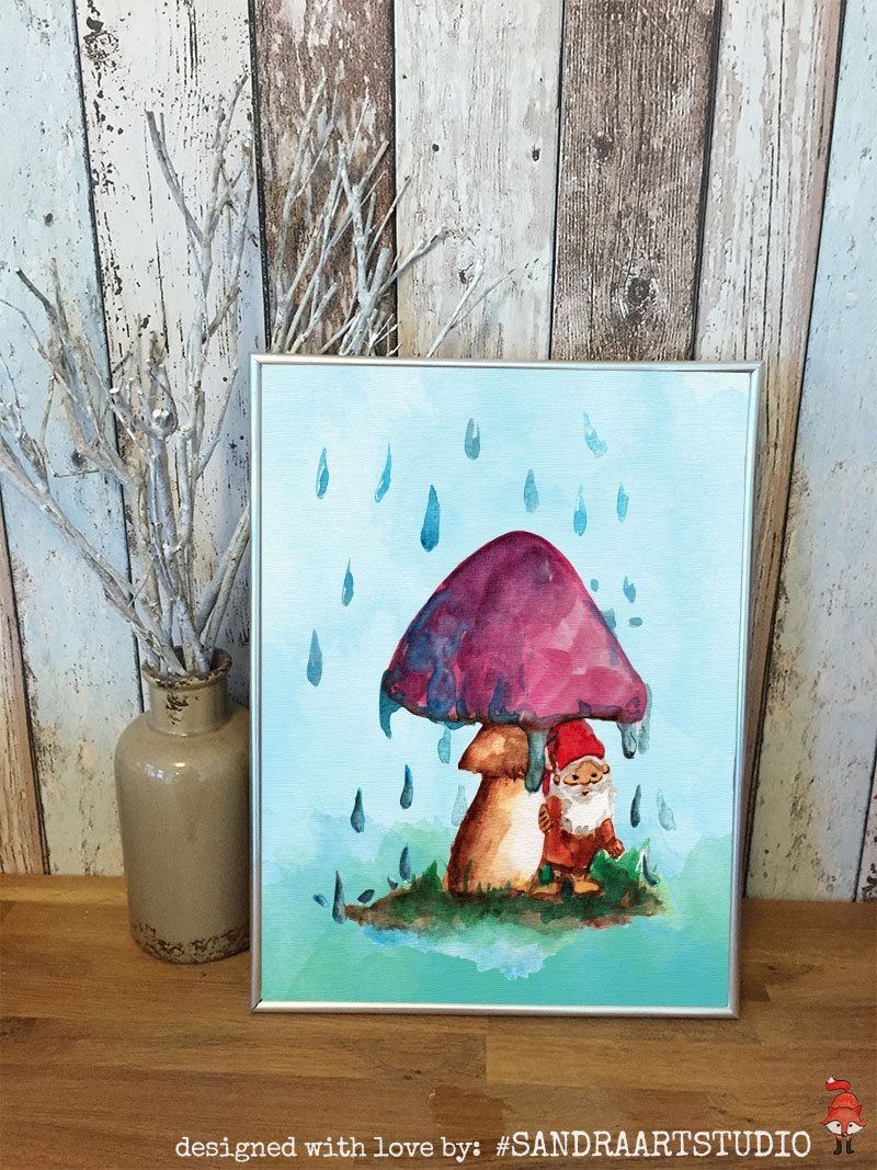 New to SandraArtStudio on Etsy: DIGITAL Print kids art GNOME under a toadstool - Instand download - Gnome painting (7.50 EUR)