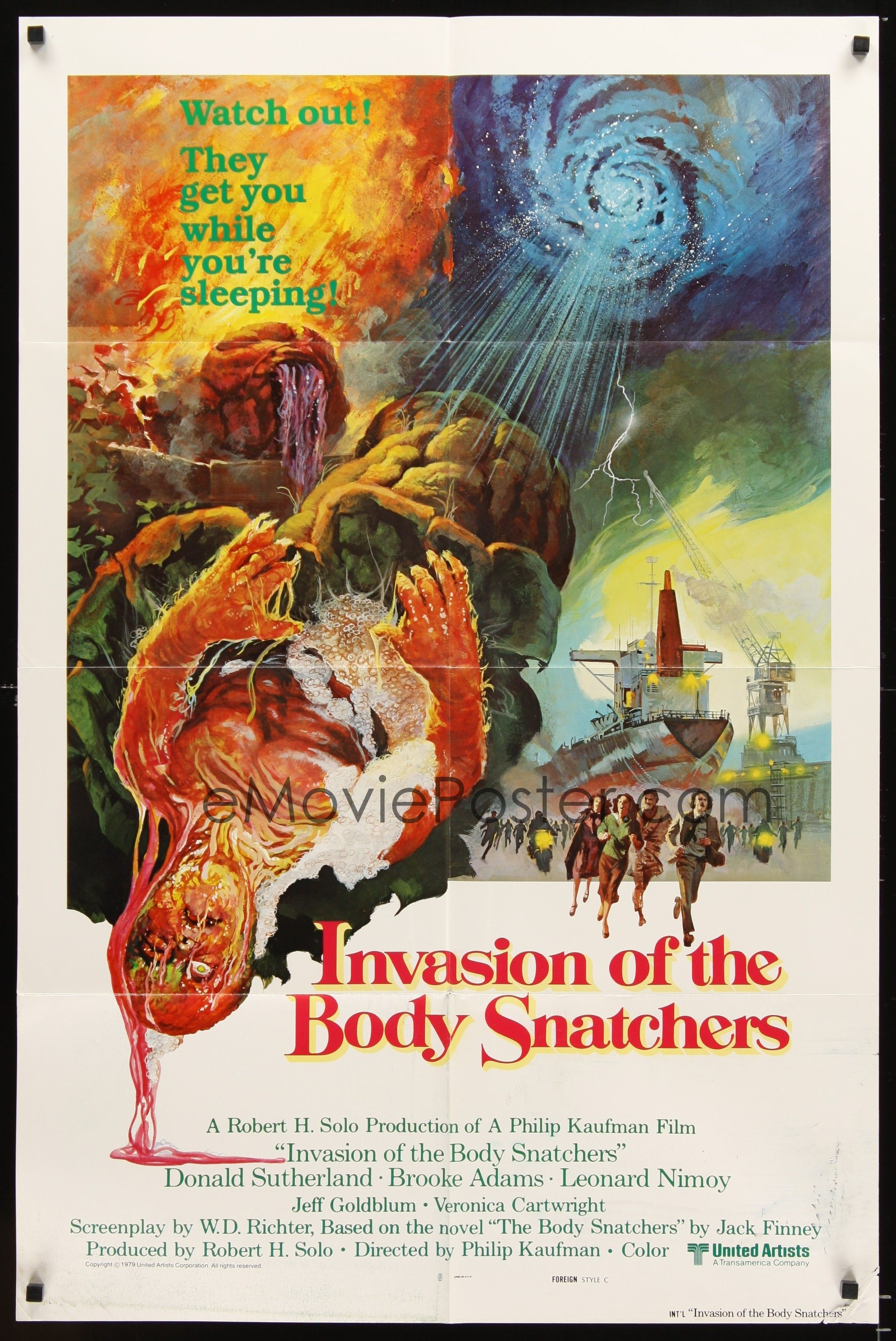 INVASION OF THE BODY SNATCHERS (1978) - Donald Sutherland - Brooke Adams - Leonard Nimoy - Jeff Goldblum - Veronica Cartwright - Based on novel, 'The Body Snatchers' by Jack Finney - Directed by Philip Kaufman - United Artists - Movie Poster.