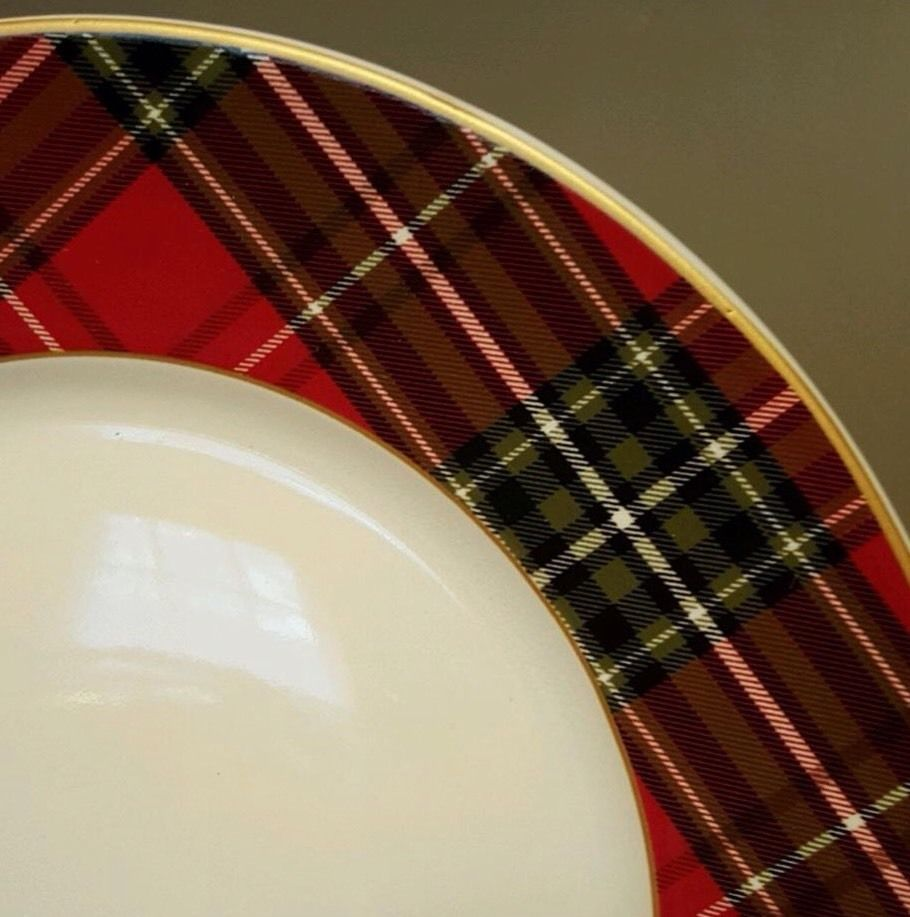 222 Fifth Wexford Plaid Tartan Christmas Red Gold Rim Dinner Plates Set Of 4 New 222fifth
