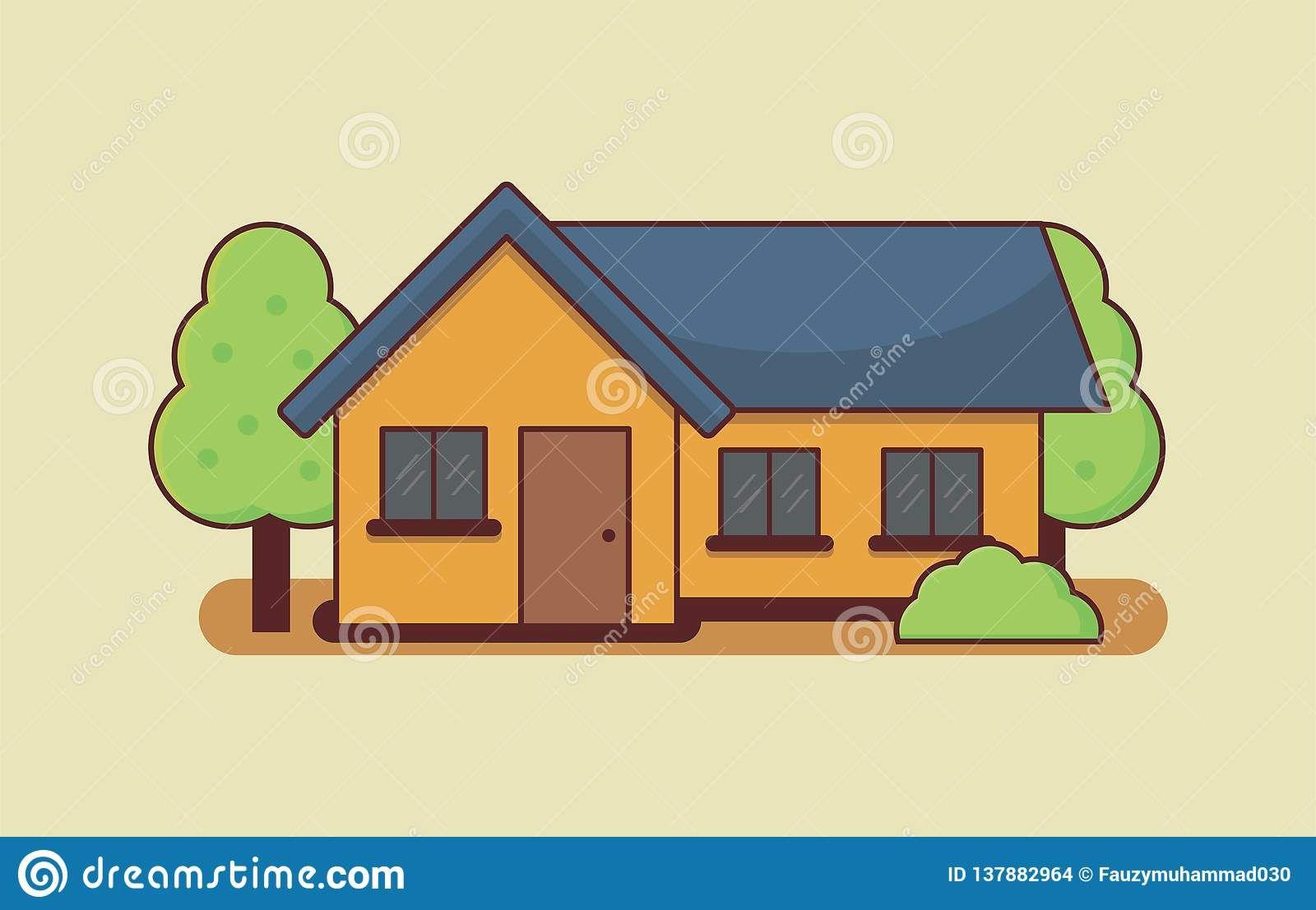 Simple House Design Cartoon In 2020 Simple House Design House Design Photos Simple House