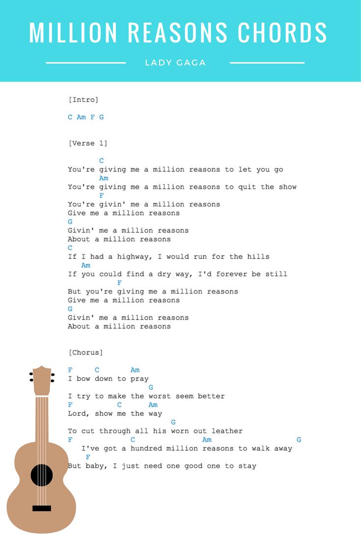 Million Reasons Chords Lyrics Lady Gaga Guitar Ukulele Chords
