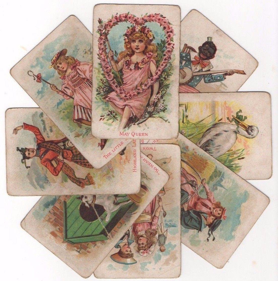 8 vintage playing cards victorian children 039 s game worn