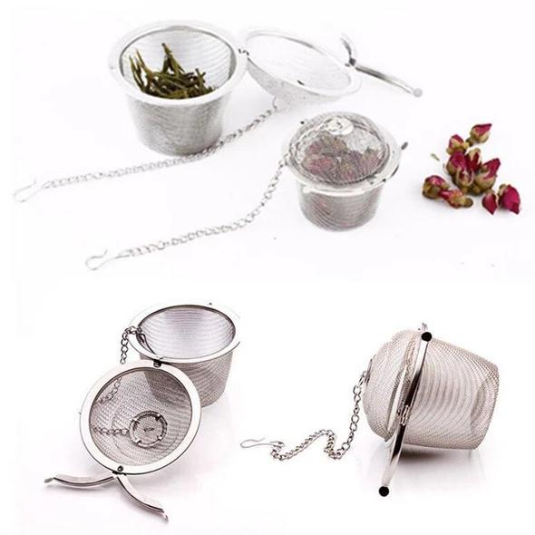 Mesh Filter Herbal Ball Cooking Kitchen Tools 304 Stainless Steel Tea Strainer Infuser Tea Locking Seasoning Ball Tea Spice