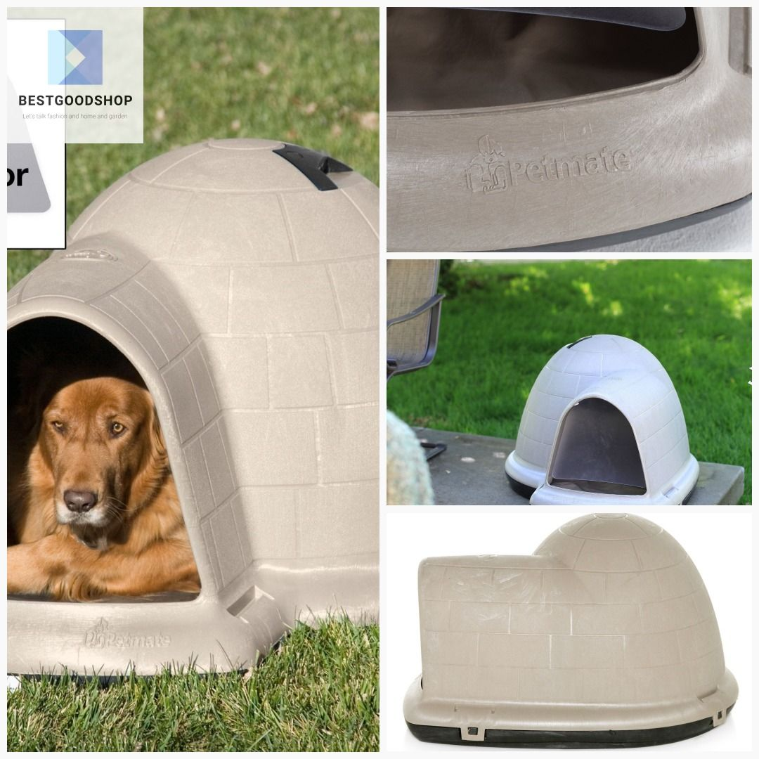 Large 43 8 Inch Igloo Shape Weather Resistant Dog House In Tan