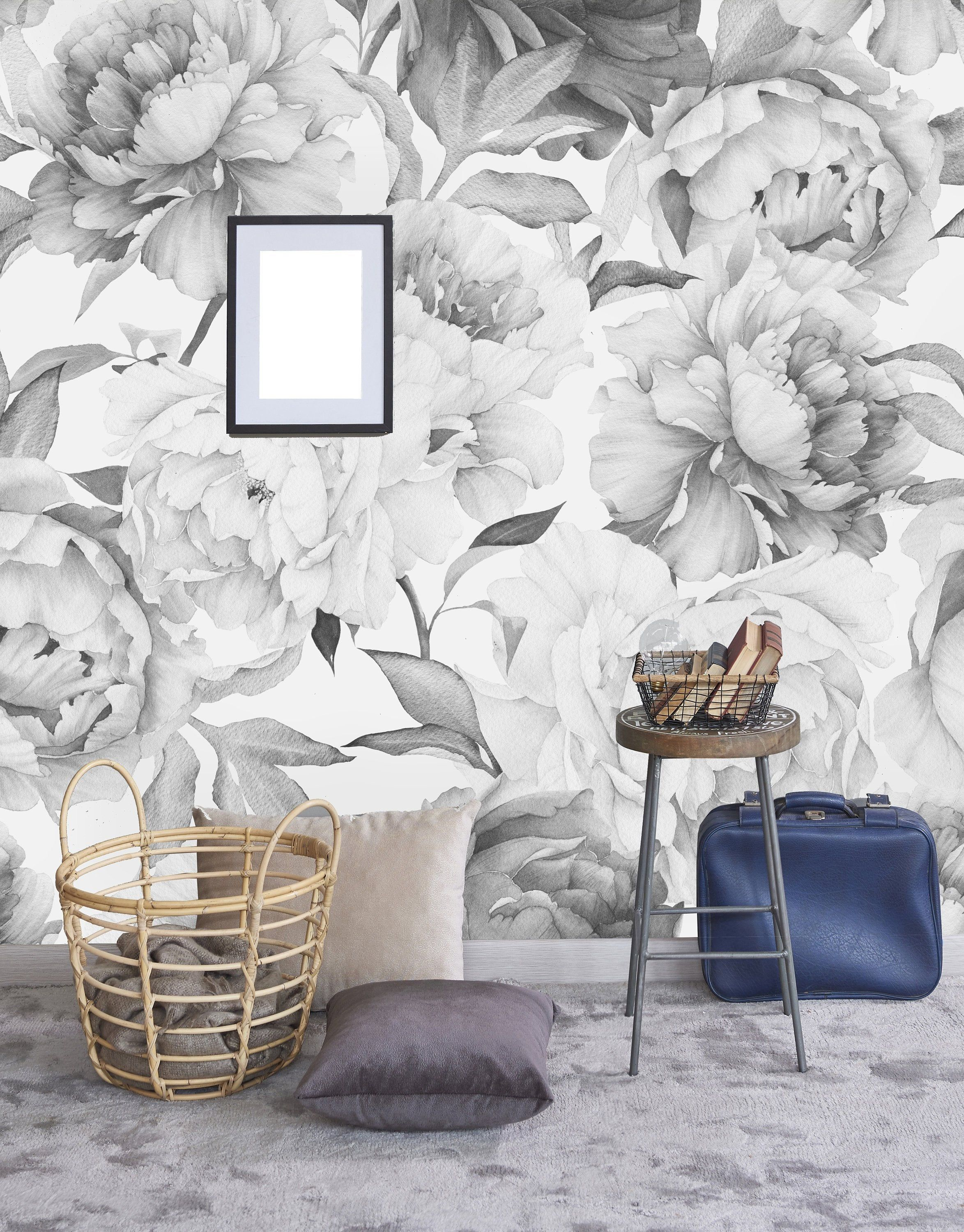 Giant Black And White Peony Removable Wallpaper Peel And Stick Etsy Removable Wallpaper Wall Wallpaper Decor