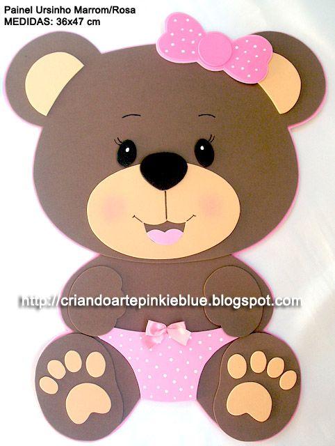 painel decorativo tema ursinho marrom e rosa e marrom e azul