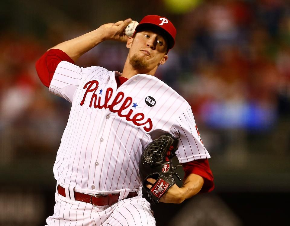 Closer Ken Giles #53 of the Philadelphia Phillies delivers a pitch against the San Diego Padres during the ninth inning of a MLB game at Citizens Bank Park on August 29, 2015 in Philadelphia, Pennsylvania. The Phillies defeated the Padres 4-3.