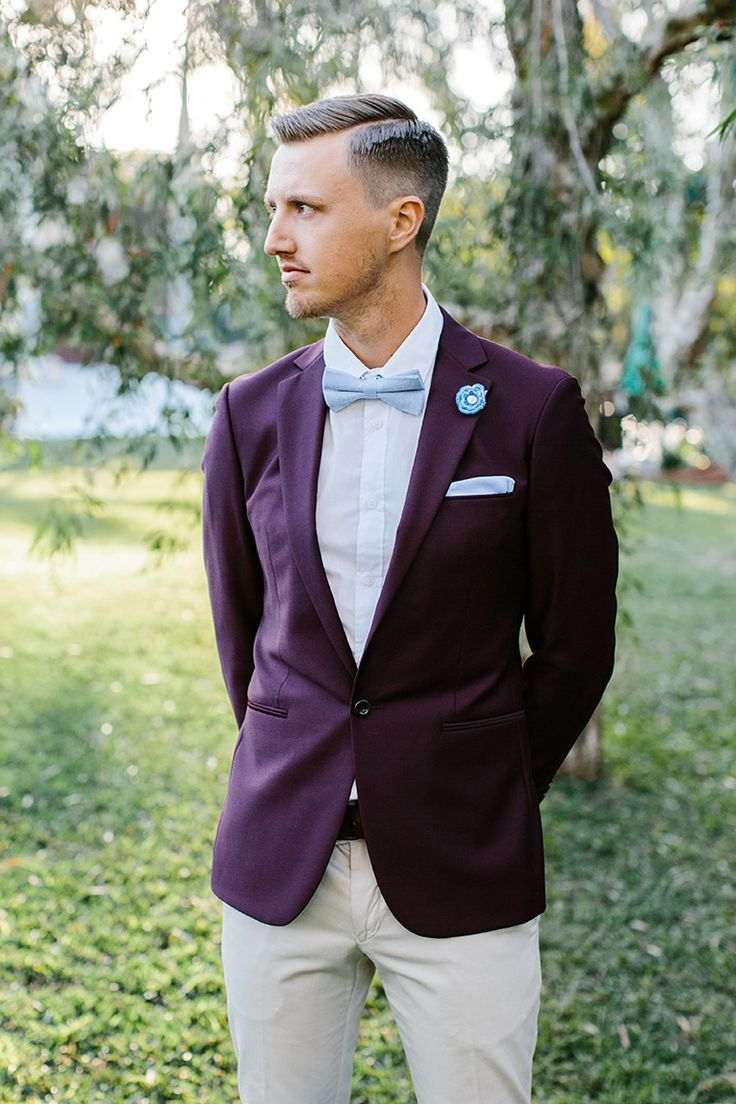 Plum suit jacket with baby blue bow tie and pocket square | Camilla Kirk Photography