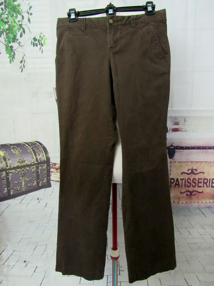 66a418e83 Old Navy Boot Cut Khakis Pants Women Reg 2 Low Rise Brown Straight Jeans  Stretch #OldNavy